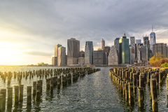 Lower Manhattan. View from Brooklyn with dock stumps Stock Images