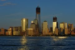 Lower Manhattan von New-Jersey Stockfoto