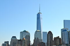 Lower Manhattanhorisont med en World Trade Center Royaltyfri Foto