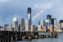 Lower Manhattanmening van de Stad van Jersey Stock Foto