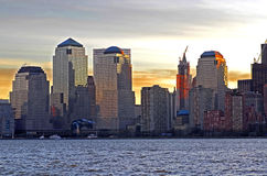 Lower Manhatten. World Trade Center at dawn in New York City Royalty Free Stock Photos