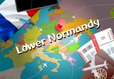 Lower Normandy city travel and tourism destination concept. Fran. Ce flag and Lower Normandy city on map. France travel concept map background. Tickets Planes stock illustration