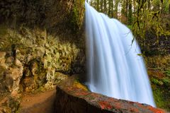 Lower North Falls in Silver Falls State Park. Lower North Falls gushes over cliff after autumn heavy rains in Silver Falls State Park in Oregon royalty free stock photos