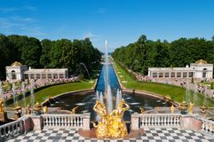 Lower park of the Peterhof. Lower park with canal and golden statues of the Peterhof. Russia, St.Petersburg, Petrodvorets stock photos