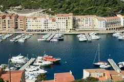 Lower part of the coastal town Bonifacio Royalty Free Stock Images