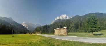 The lower part of Planica valley in Julian Alps Royalty Free Stock Images