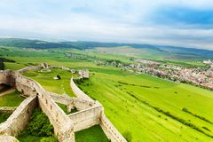 Lower part of Spis castle stock photography