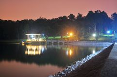 Lower Peirce Reservoir with lighted gazebo Stock Photography