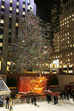 Lower Plaza of Rockefeller Center with ice-skating rink  and Christmas tree in Midtown Manhattan Royalty Free Stock Image