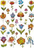 Lower set. Set of multi-coloured flowers Royalty Free Stock Photos