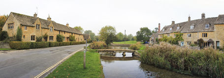 Lower slaughter cotswalds village panorama Royalty Free Stock Photos