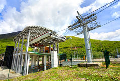 Lower station of ski lifts in the mountain resort Royalty Free Stock Photography