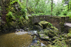 Lower stone bridge at Aira Force. Stone bridge at Aira Force Waterfall, near Ullswater in English Lake District, Cumbria, England, Uk Stock Photography