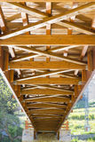 Lower structure of a wooden bridge Royalty Free Stock Images