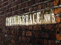 Lower Terrace Signage On Brick Wall Stock Images