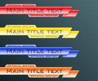 Lower third banners. Set banners lower third blue, red, yellow and orange. Vector illustration Stock Image