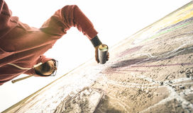 Free Lower View Of Street Artist Painting Graffiti On Generic Wall Stock Photo - 94183110