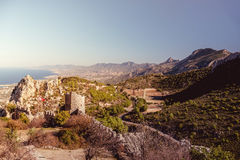 The Lower Ward of St. Hilarion Castle as seen from the castle it royalty free stock images