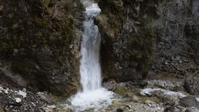 Lower waterfall in the Schleifmühlklamm stock video footage
