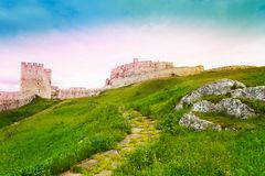Lower yard of Spis castle ruins. On the north of Slovak republic stock photos