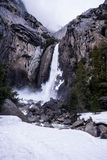 Lower Yosemite Falls in Winter Stock Photo
