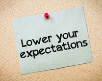 Lower your expectations Royalty Free Stock Images