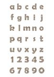 The lowercase alphabet and numbers in mosaic design. The decorative lowercase alphabet and numbers in mosaic design Royalty Free Stock Photography