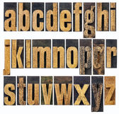 Lowercase alphabet in wood type Royalty Free Stock Images