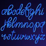 Lowercase blue hand drawn 3D letters isolated on dark background. Vector illustration. Latin alphabet Stock Image