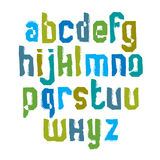 Lowercase calligraphic brush letters, hand-painted bright vector Stock Photos