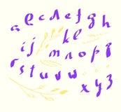 Lowercase do alfabeto do vetor escrito com uma escova fotografia de stock royalty free