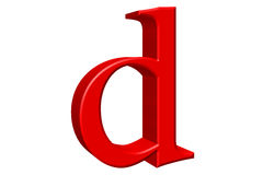 Lowercase letter D, isolated on white, with clipping path, 3D il Royalty Free Stock Photo