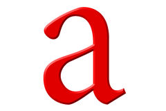 Lowercase letter A, isolated on white, with clipping path, 3D il Royalty Free Stock Image