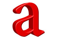 Lowercase letter A, isolated on white, with clipping path, 3D il Royalty Free Stock Photography