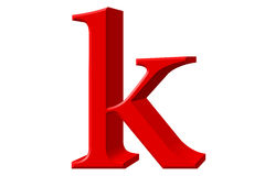 Lowercase letter K, isolated on white, with clipping path, 3D il Royalty Free Stock Photos