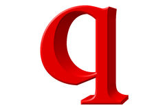 Lowercase letter Q, isolated on white, with clipping path, 3D il Stock Images