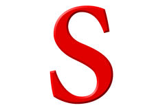 Lowercase letter S, isolated on white, with clipping path, 3D il Royalty Free Stock Photography