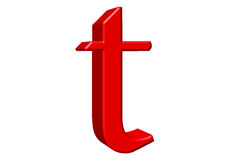 Lowercase letter T, isolated on white, with clipping path, 3D il Royalty Free Stock Image