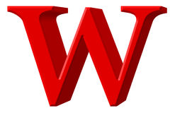 Lowercase letter W, isolated on white, with clipping path, 3D il Royalty Free Stock Photography