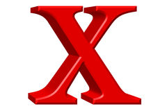 Lowercase letter X, isolated on white, with clipping path, 3D il Royalty Free Stock Image