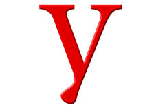 Lowercase letter Y, isolated on white, with clipping path, 3D il Royalty Free Stock Photo