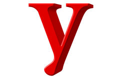 Lowercase letter Y, isolated on white, with clipping path, 3D il Royalty Free Stock Photography