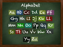 Lowercase and uppercase alphabet. On a framed blackboard Stock Images