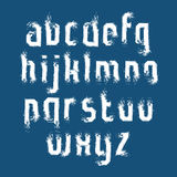 Lowercase white graffiti letters drawn with ink brush, watercolo Royalty Free Stock Photos