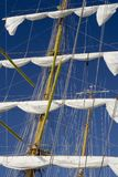 Lowered Sails. And rigging of the tall ship Stock Photo