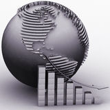 Lowering chart with a pointer on a background a globe Stock Image