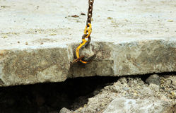 Lowering the concrete slab and creating duct protection of the water pipes from being damaged during repair work Royalty Free Stock Photography