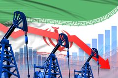 Lowering, falling graph on Iran flag background - industrial illustration of Iran oil industry or market concept. 3D Illustration. Iran oil industry concept stock illustration