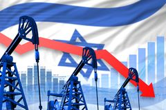 Lowering, falling graph on Israel flag background - industrial illustration of Israel oil industry or market concept. 3D. Israel oil industry concept, industrial vector illustration