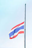 The Lowering the flag at half-mast to mourn. Lowering the flag Thailand at half-mast to mourn Stock Image